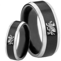 COI Tungsten Carbide Black Silver Dragon Beveled Edges Ring-242