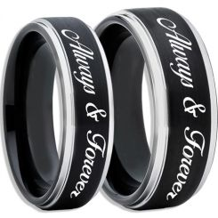COI Tungsten Carbide Black Silver Always & Forever Ring-TG2450