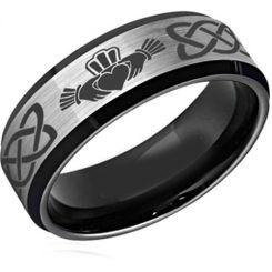 *COI Tungsten Carbide Black Silver Mo Anam Cara Ring-TG2589
