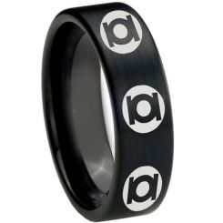COI Black Tungsten Carbide Green Lantern Pipe Cut Ring-TG2609