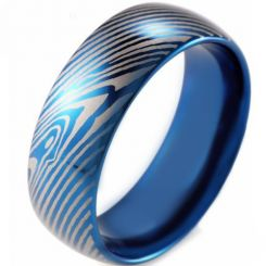 COI Tungsten Carbide Blue Silver Damascus Dome Court Ring-TG2612