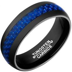 COI Black Tungsten Carbide Carbon Fiber Dome Court Ring-TG2615