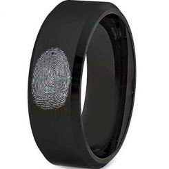 COI Black Tungsten Carbide Custom Fingerprint Ring-TG2775