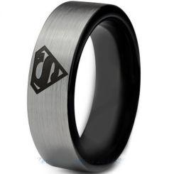 **COI Tungsten Carbide Black Silver Superman Ring-TG2776