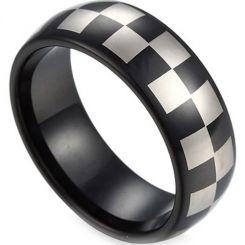 COI Tungsten Carbide Checkered Flag Dome Court Ring-TG2818