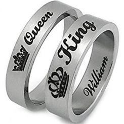 COI Tungsten Carbide King Queen Crown Flat Ring-TG2856AA