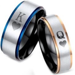 *COI Titanium Black Blue/Rose King Queen Heart Ring-2875
