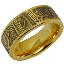 COI Gold Tone Tungsten Carbide Ring With Custom Fingerprint-287A