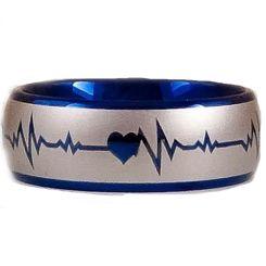 *COI Titanium Blue Silver Heartbeat & Heart Ring-2887