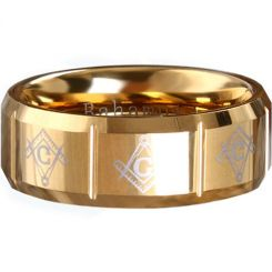 COI Tungsten Carbide Masonic Vertical Grooves Ring-TG289A