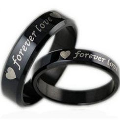 COI Black Tungsten Carbide Forever Love Heart Ring-TG2915