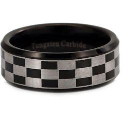 COI Tungsten Carbide Black Silver Checkered Flag Ring-TG2952