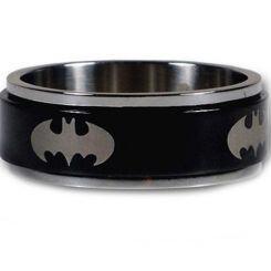 *COI Tungsten Carbide Black Silver Batman Ring-TG2961