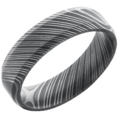 COI Black Tungsten Carbide Damascus Step Edges Ring-TG2991