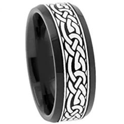COI Black Tungsten Carbide Celtic Beveled Edges Ring-TG3062