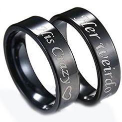 *COI Black Tungsten Carbide His Crazy Her Weirdo Ring-TG3070