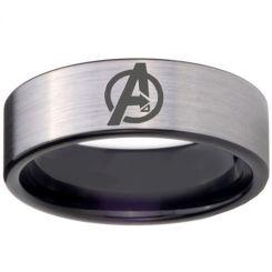 COI Tungsten Carbide Black Silver Marvel Avengers Ring-TG3094