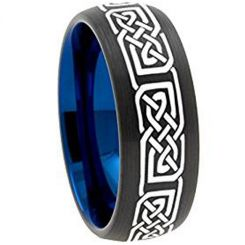 COI Tungsten Carbide Black Blue Celtic Dome Court Ring-TG3148