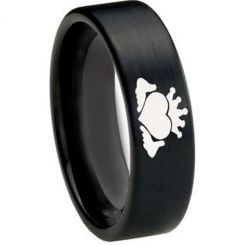 COI Black Tungsten Carbide Mo Anam Cara Pipe Cut Flat Ring-TG3217
