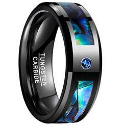 COI Black Tungsten Carbide Abalone Shell & Zirconia Ring-TG3237B