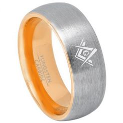 *COI Titanium Gold Tone Silver Masonic Dome Court Ring-3240