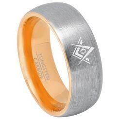 COI Tungsten Carbide Gold Tone Silver Masonic Ring-TG3240