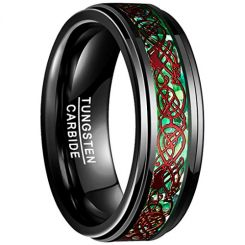 COI Black Tungsten Carbide Red Dragon Step Edges Ring-TG3241BB