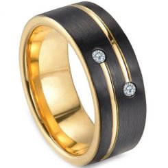 COI Tungsten Carbide Black Gold Tone Ring With Zirconia-TG3249