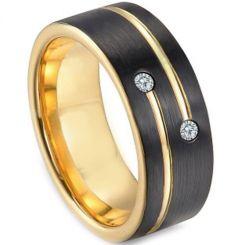 *COI Titanium Black Gold Tone Ring With Cubic Zirconia-3249