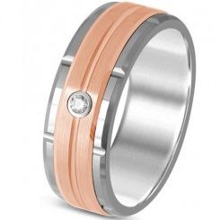 *COI Titanium Rose Silver Tire Tread Cubic Zirconia Ring-JT3034AA