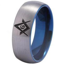 COI Tungsten Carbide Blue Silver Masonic Ring-TG3275
