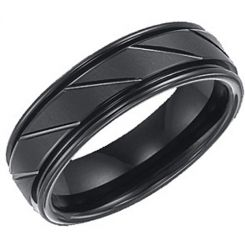 COI Black Tungsten Carbide Ring - TG3345(Size:US6)