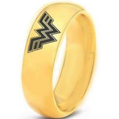*COI Gold Tone Titanium Wonder Woman Dome Court Ring-3346