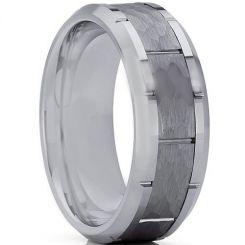 COI Tungsten Carbide Hammered Brick Pattern Ring-TG3361