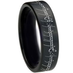 *COI Black Titanium Lord of The Ring Pipe Cut Flat Ring-3367