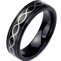 COI Black Tungsten Carbide Infinity Celtic Step Edges Ring-TG3369