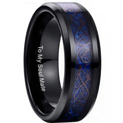 COI Black Tungsten Carbide Dragon Beveled Edges Ring-TG3371
