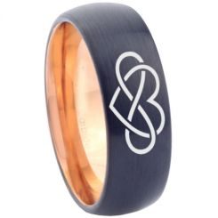 COI Tungsten Carbide Black Rose Infinity Heart Ring-TG3374