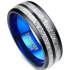 COI Tungsten Carbide Black Blue Meteorite Dome Court Ring-TG3403