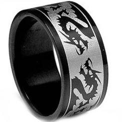 COI Tungsten Carbide Black Silver Dragon Pipe Cut Ring-TG3411