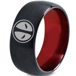 COI Tungsten Carbide Black Red Deadpool Ring-TG3434