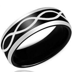 *COI Titanium Black Silver Infinity Beveled Edges Ring-3443