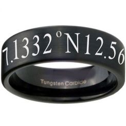 COI Black Tungsten Carbide Custom Co-ordinate Ring-TG3456