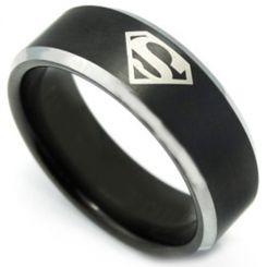 **COI Tungsten Carbide Black Silver Superman Ring-TG3459