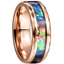 COI Rose Tungsten Carbide Faceted Abalone Shell Ring-TG3460