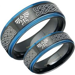 COI Tungsten Carbide Black Blue Legend of Zelda Ring-TG3482