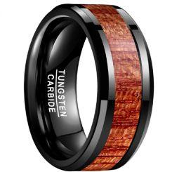 COI Black Tungsten Carbide Wood Beveled Edges Ring-TG3485