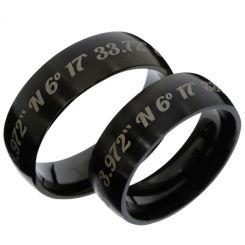 COI Black Tungsten Carbide Custom Co-ordinate Ring -TG3486