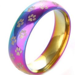 COI Tungsten Carbide Rainbow Color Dome Ring With Paws-TG3491