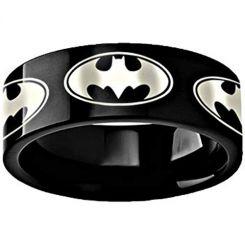 COI Black Titanium Batman Pipe Cut Flat Ring-3494